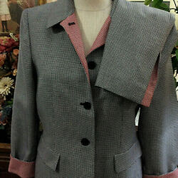Kasper 2pc Skirt Suit Black Red Houndstooth Micro Check Flip Cuffs Bust 38quot; 8P $30.00
