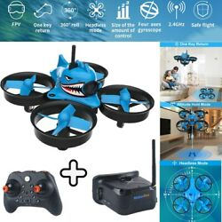 Micro FPV Racing Drone With Goggles Camera RTF Tiny Whoop Quardcopter Blue Shark $85.49