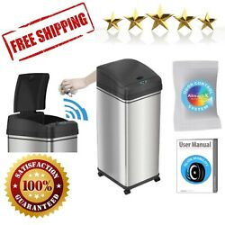 Sensor Trash Can Stainless Steel Automatic Kitchen Bin Office Garbage 13 Gallon $85.90