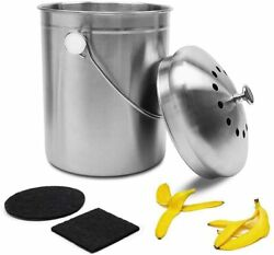 Kitchen Compost Bin Give Me 1.3 Callon Stainless Steel Compost Bucket with Doub $23.99