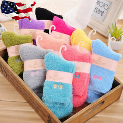 5 Pairs Womens Socks Candy Colors Fuzzy Fluffy Cozy Bowknot Thick Warm Socks 6 9 $10.99