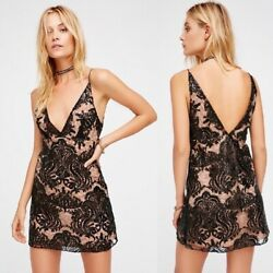 Free People Night Shimmers Black Sequin Party Mini Dress Nwt 10