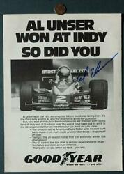 Indy 500 Champion Al Unser Sr. AUTOGRAPHED SIGNED Goodyear Tires Magazine Ad $13.99