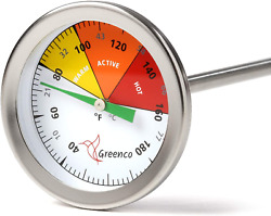 Compost Soil Thermometer 20 in. Stem Stainless Steel Celsius and Fahrenheit $32.99