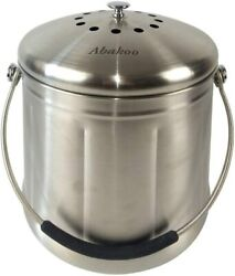 Compost Bin 304 Stainless Steel Kitchen Composter Waste Pail Indoor Countertop $46.90