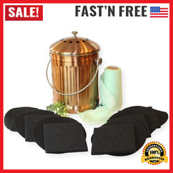 Compost Bin Copper Kitchen Counter Top Large 1.3 Gallon Food Scrap Container $50.49