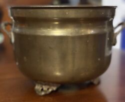 Antique BRASS PLANTER Scalloped amp; Ornate Feet amp; Handles Made In India Patina $35.00