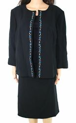 Tahari By ASL Women#x27;s Skirt Suit Black Size 18W Plus Crepe Embroidered $320 #508 $35.99