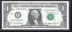 2006 $1 Federal Reserve Note Fancy REPEATER Serial #F82258225P Uncirculated $25.00