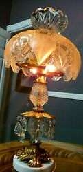 Vintage Lamp with a Heavy Glass Shade and Prisms on Brass and Marble Base. RARE $150.00