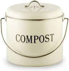 1.3 Gal Compost Bin for Kitchen Countertop With 7 BONUS Charcoal Filters Vinta $27.99