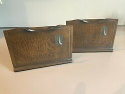 Antique ROYCROFT Arts amp; Crafts Hand Hammered Brass with Peacock Bookends Pair $249.99