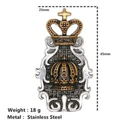 Stainless Steel Pendant For Men In the form of a crown and a stone Jewelry $9.96
