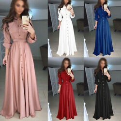 Women Shirt Long Sleeve Maxi Dress Evening Party Casual Plus Dresses Ball Gown $14.49