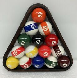 Billiard Pool Ball Set in Rack Wall Hanging Decor Art Pool Table Room Man Cave $39.95