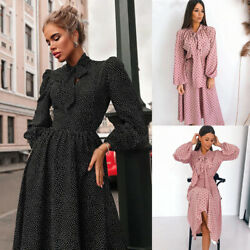 Womens Long Sleeve Polka Dot Maxi Long Dress Ladies Bowtie Swing Party Dresses $18.79