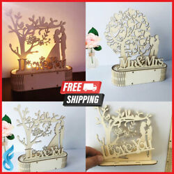 LED Light Wooden Wedding Ornaments DIY Mr Mrs Rustic for Party Decoration Events $8.77