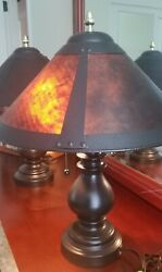 Pair Mica Shade Mission Spindle Table Lamps 20.5quot; H Style 80913 from Lamps Plus $109.00