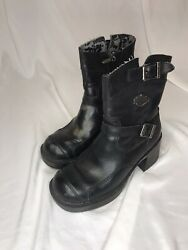 Women#x27;s Harley Boots Double Buckle Side Zip Style Gypsy Black Boot 85303 SZ 5.5 $29.99