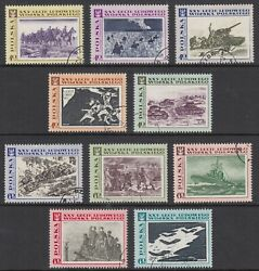 Poland 1968 People#x27;s Army set of ten stamps fine used Tanks Planes etc. GBP 1.20