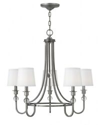 Morgan Five Light Chandelier Antique Nickel Finish with White Linen Shade $389.41