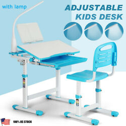 Adjustable Student Desk and Chair Set Child Study Table with Lamp and Storage $89.99