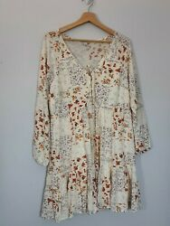 American Eagle Size L Bohemian Dress Floral Cream Long Sleeves $32.34