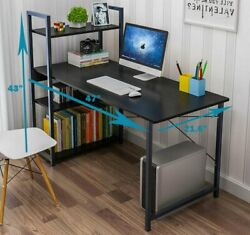47quot; Wood Computer Desk PC Laptop Table Home Office Study Workstation w 4 Shelves $90.99