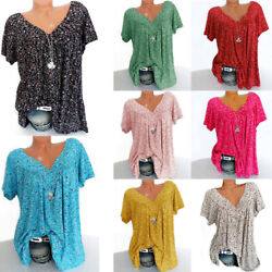 Plus Size Women Short Sleeve T Shirt V Neck Summer Casual Floral Blouse Tops Tee $11.86