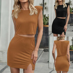 2PCS Womens Sexy Sleeveless Cropped Tops and Mini Skirts Outfits Lounge Wear $22.29