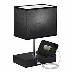 Touch Table Lamp Seealle Black Lamp with Phone Stand 10 Inch Stepless Dimmable $48.45