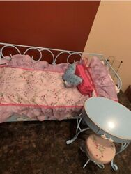 American Girl Doll Blue Curly Cue Metal Day Bed With Trundle Night Stand Chair $49.99
