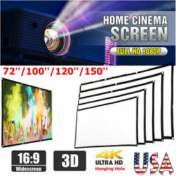 Portable Foldable Projector Screen 16:9 HD Outdoor Home Theater 3D Movie Curtain $5.99