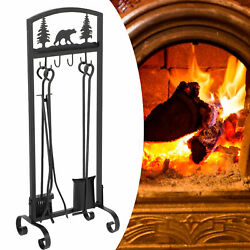 5 PCS set Hearth Tool Fireplace Set Fire Tools Iron Home 32quot; Base Indoor Kit $42.79