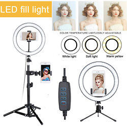 10quot; LED Ring Fill Light w Stand amp; Mount Kit for Camera Phone Selfie Video Stream $9.99
