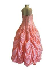 Orange Prom Gown engagement bride maid Dress size 14
