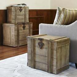 Home Storage Chest Rustic Trunk End Side Table Vintage Style Wood Cabin Medium $99.35