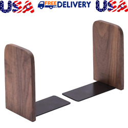 Vintage Wooden Bookends with Metal Base 2 Pcs Heavy Duty Black Walnut Book Stand $17.99