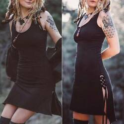 Women Sleeveless Casual Mini Dress Gothic Punk Style Strappy Slim T Shirt Dress