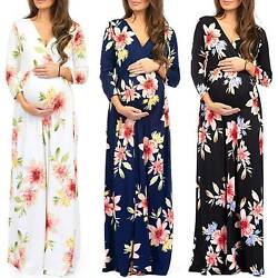 Pregnant Womens Maternity Long Sleeve Floral Maxi Dress Holiday Party Sundress $20.23