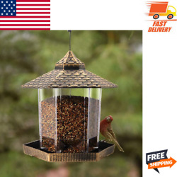 Wild Bird Feeder Hanging for Garden Yard Outside Decor Hexagon Shaped with Roof $18.99
