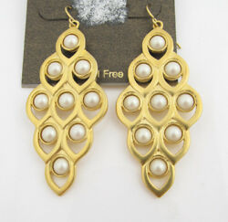 Carolee quot;Oyster Bayquot; Imitation Pearl Chandelier Earrings Gold Tone $60 $29.50