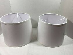Double Medium White Drum Lamp Shades Set of 2 $35.99