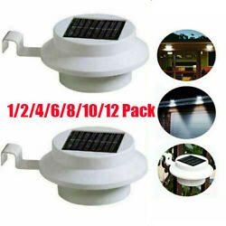 12x Outdoor LED Solar Powered Gutter Light Garden Yard Wall Fence Pathway Lamp