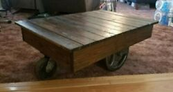 Industrial Cart Coffee Table Vintage Style Home Decor Rustic Farmhouse Home Made $149.95