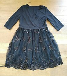 Lookbook Store Black Sequin Mesh Party Cocktail Dress Size 14