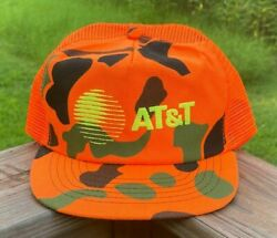 VTG neon orange amp; camo ATamp;T trucker snapback hat cap excellent