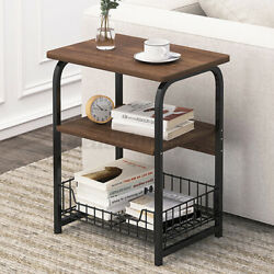 2 Tier Side End Coffee Table Storage Shelves Sofa Couch Living Room Furniture US $35.99