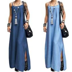 Women Denim Loose Strappy Maxi Dress Summer Casual Sleeveless Long Sun Dresses $18.04