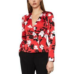 BCBGMAXAZRIA Womens Floral Long Sleeve V Neck Blouse Top BHFO 2006 $24.99